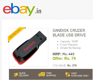 scandisk pendrive offer is live again on 22dec .buy sandisk pendrive from ebay at 79rs only .on first sale i ordered one and got it in good condition.so don't worry register ur number and order on 22 dec,