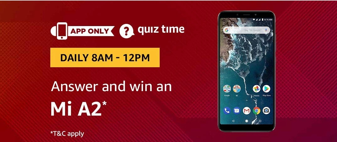 16th January Amazon Quiz Time Answer Win Mi A2 Mizo Tips And Tricks