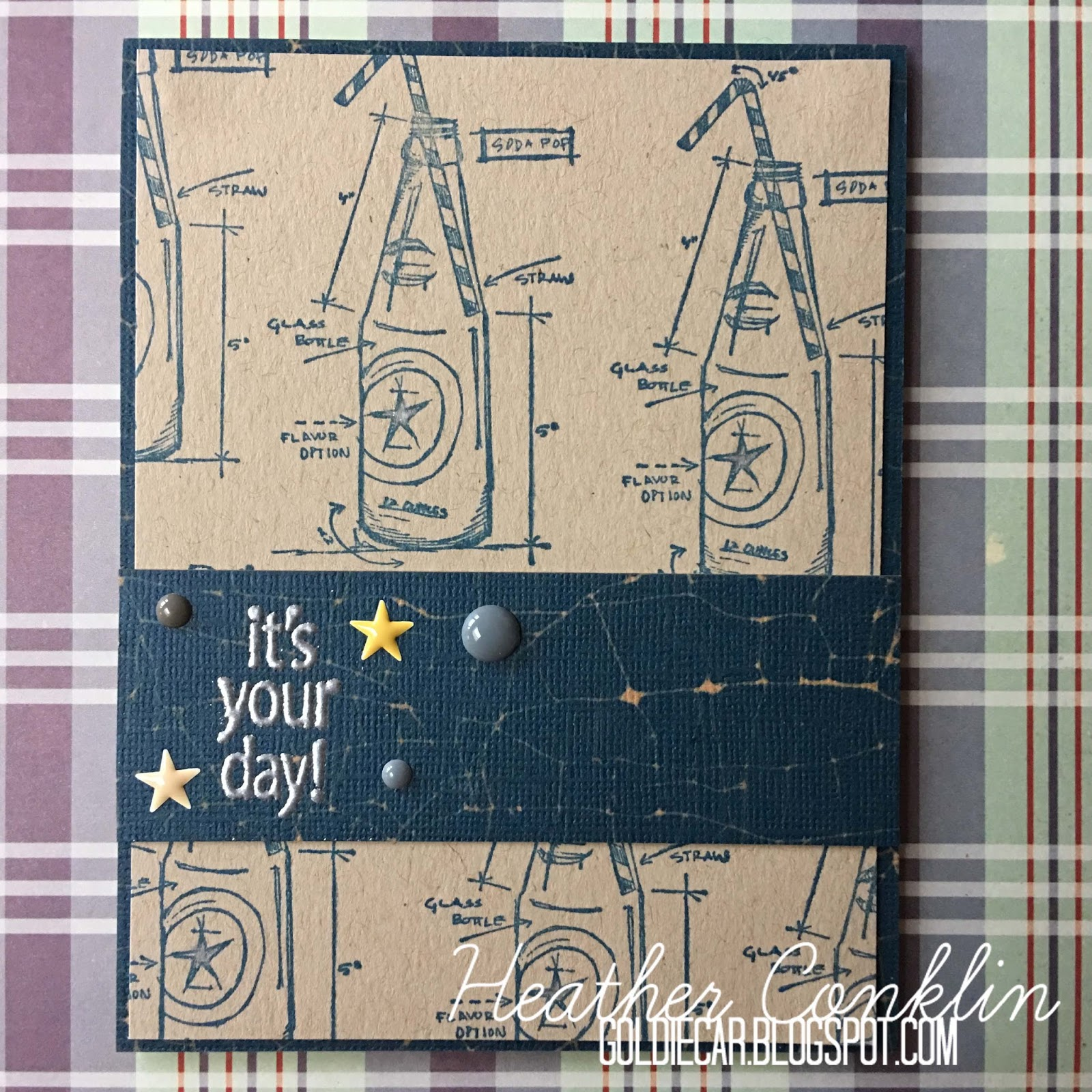 Goldiecar designs paper girls challenge 149 masculine birthday i started with a simple kraft cardstock background and crackled colored cardstock i have had the tim holtz soda bottle blueprint rubber stamp got on malvernweather Image collections