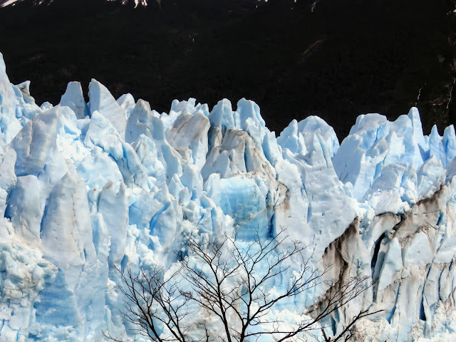 Close up of the craggy peaks of Perito Moreno Glacier near El Calafate Argentina