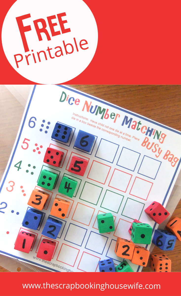 Ellabella Designs: Dice Number Matching Game - Busy Bags for