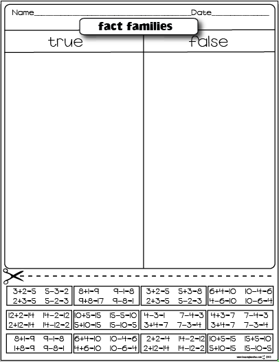 Number Names Worksheets printable fact family worksheets : Freebies