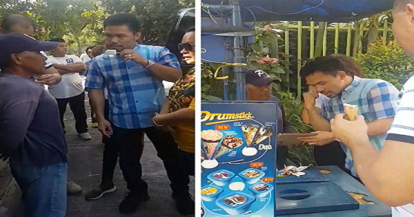Pacquiao Gives Money, Offers House and Lot to Old Ice Cream Vendor Who had a Stroke