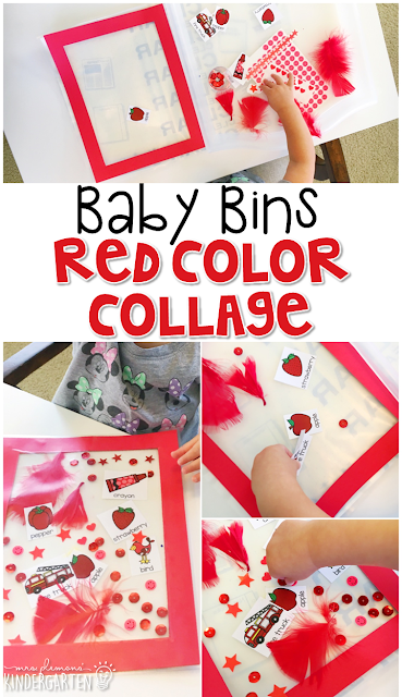 This red color collage is great for learning the color red and it is a completely baby safe way craft. Plus there's no glue required so no sticky mess or glue eating to clean up! Baby Bins are perfect for learning with little ones between 12-24 months old.