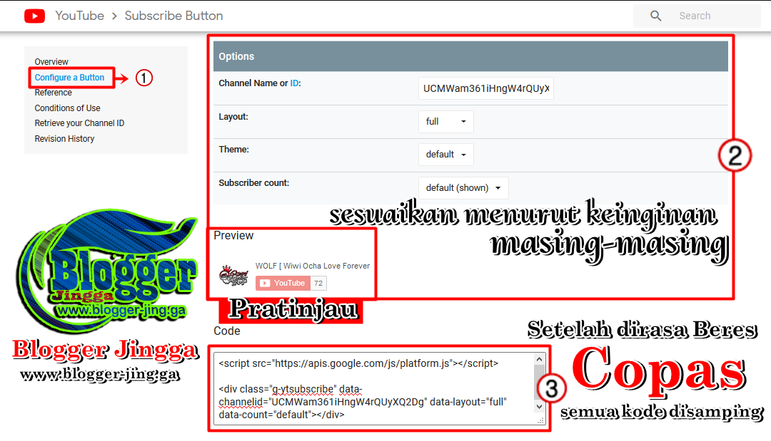 Cara Memasang Tombol Subscribers YouTube Di Blogger Blogspot