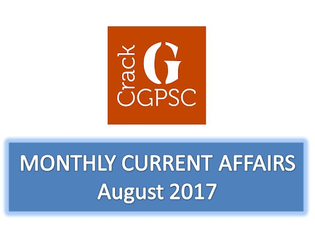 Crack GPSC Current Affairs Monthly - August 2017