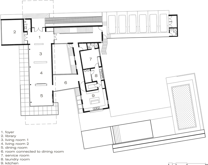 Second floor plan of Modern contemporary CT House in Mexico