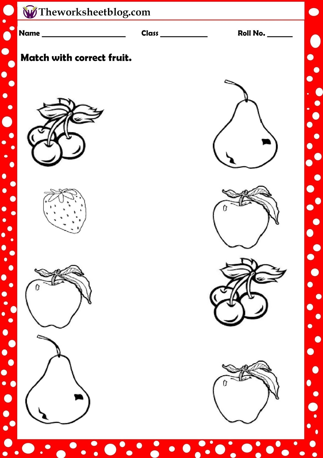 Fruits And Vegetables Worksheet For Kindergarten
