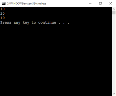 Write a program that generates the following output:             10             20             19 Use an integer constant for the 10, an arithmetic assignment operator to generate the 20, and a decrements operator to generate the 19.