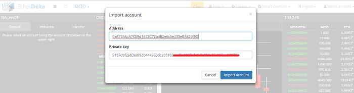 Cara Import Akun Wallet Ethereum Ke EtherDelta