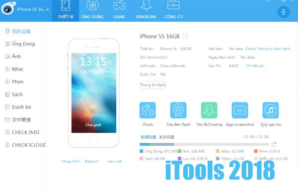 Tải iTools 4.3.6.5 Tiếng Việt và Tiếng Anh mới nhất 2018 cho IOS 9, 10, 11 b