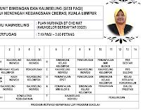 Jadual Waktu Guru Kaunseling SMK Cheras 2018
