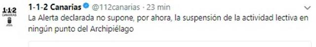 El twitter delo 112 Canarias que asegura que por el momento no se suspenden clases por alerta de lluvias en las islas de Gran Canaria y Tenerife
