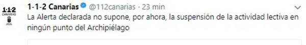 No se suspenden clases por alerta lluvias Canarias 23 febrero