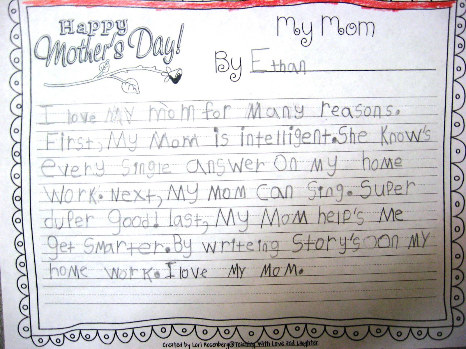 teaching love and laughter mother s day writing and two i conferenced each child while they were at stations completing other activities then they wrote their published essay on pretty paper