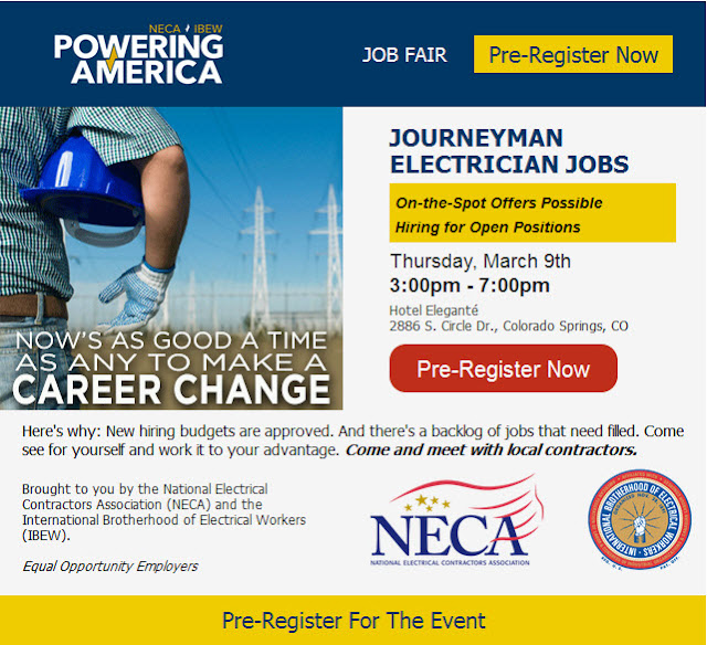Job fair for electricians, March 9 in Colorado Springs - pre-register now!
