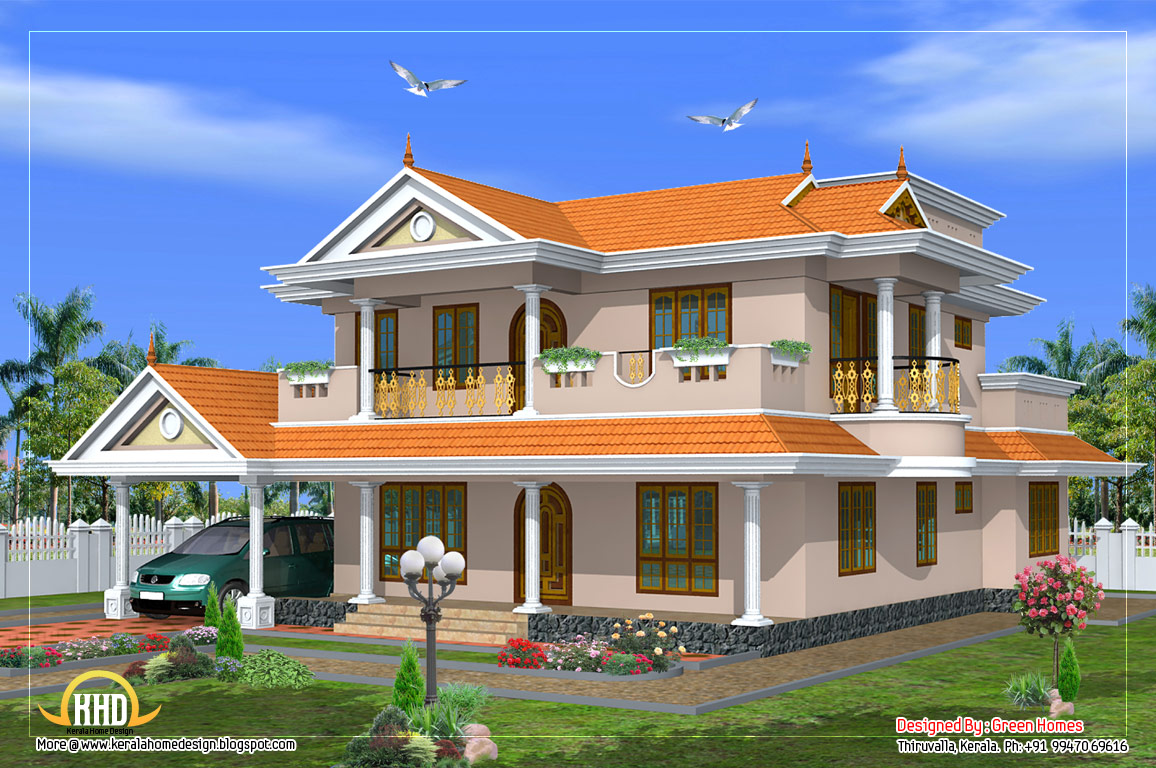 Beautiful 2 storied house design 2490 sq ft kerala for Beautiful double story houses