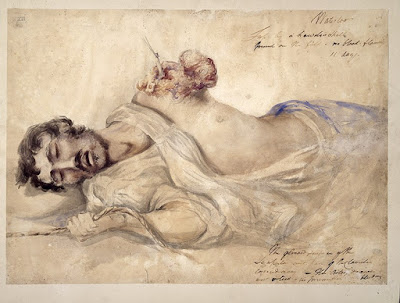 Soldier wounded at Waterloo (18 June 1815) with missing left arm, lying on his side, grasping a rope, watercolor made by the Scottish surgeon Charles Bell (1774-1842). The rope was used by the patient to change from position or to rise up from his bed. (© Wellcome Library, London)