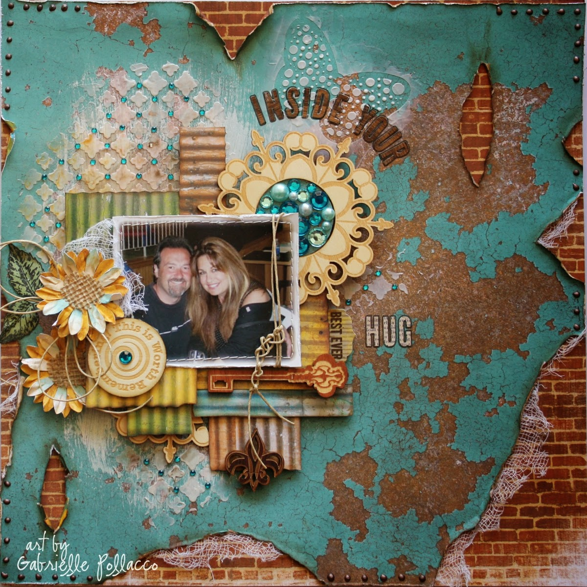 Scrapbook page by Gabrielle Pollacco using Bo Bunny's Safari collection papers and embellishments