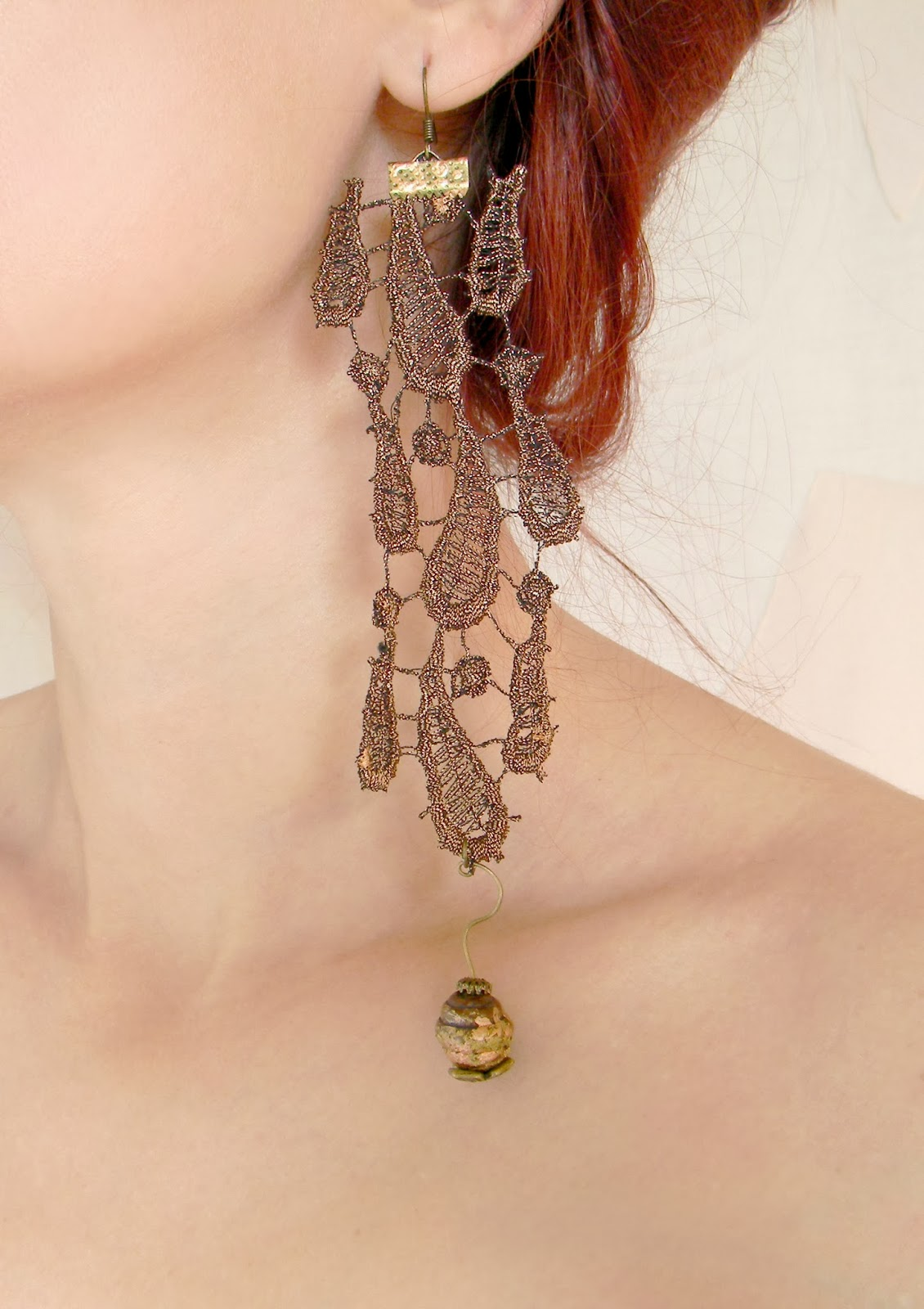 Baroque Lace Earrings Long Floral Earrings Textile Jewelry