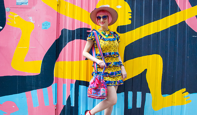 wayuu bag, colourful look, yellow dress
