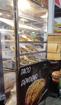 Dendeng - a halal version of bak kwa, traditionally barbecued pork slices - sold in tacos by Taco Dendeng.