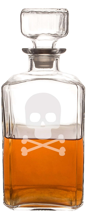 CATHY'S CONCEPTS 'Skull & Crossbones' Glass Decanter