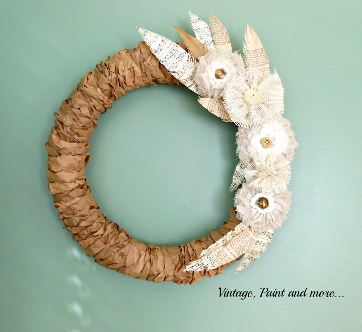 Vintage, Paint and more... Rustic wreath made with Styrofoam wreath form, brown paper lunch bags, book pages and burlap and lace flowers