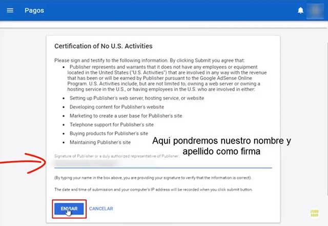 certificación de no actividades en U.S
