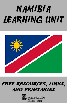 My kids learn all about Namibia, Africa this week with a day-by-day lesson plan covering the people and culture of Namibia, and the Skeleton Coast in the Namib desert. Plenty of free, fun activities plus map and flag exploration perfect for around-the-world unit studies! #namibia #kids #educational #aroundtheworld #geography #lessonplan #homeschool #unremarkablefiles