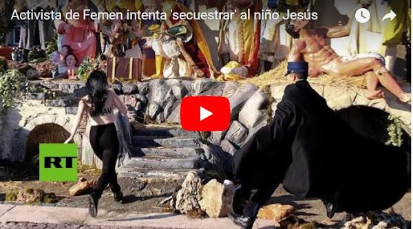 Desquiciada se roba al niño Jesús del vaticano gritando que Dios es mujer
