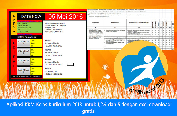 Aplikasi KKM Kelas Kurikulum 2013 Untuk 1,2,4,5 SD dengan Exel