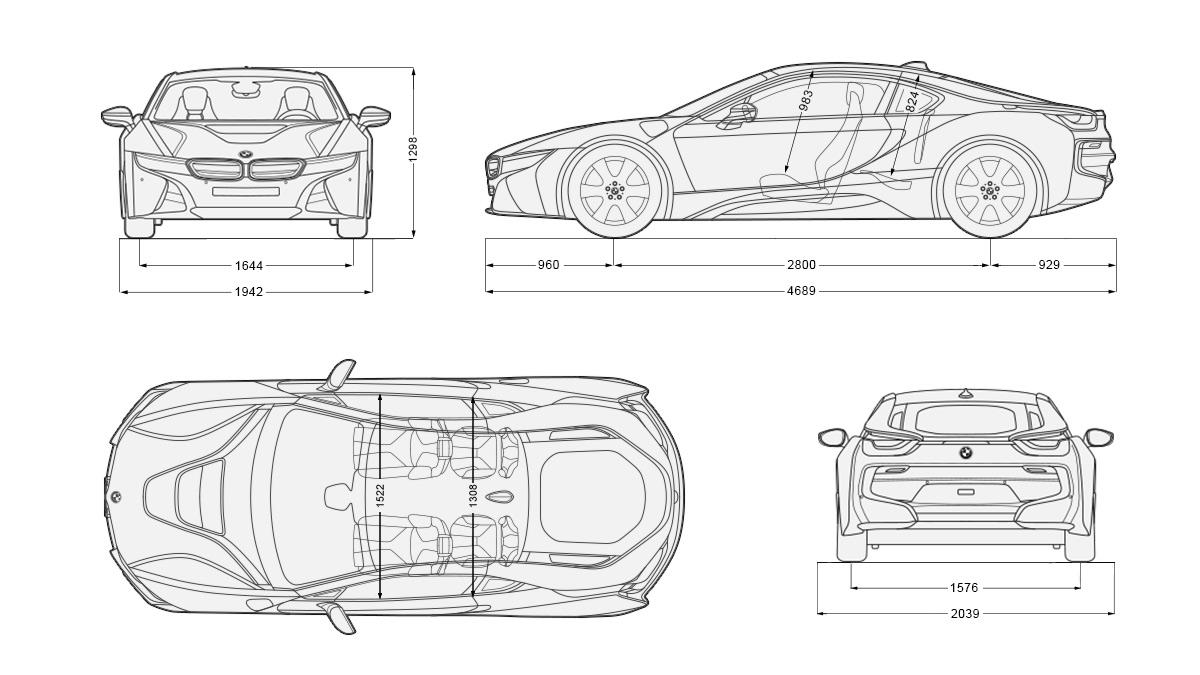BMW i8 Concept Blueprint - Cars Booster