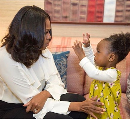 Michelle Obama warms hearts after she meets and dances with 2-year-old girl amazed by her portrait
