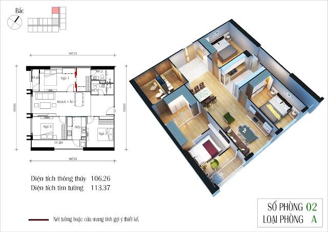 Căn hộ 105 m2 tòa Eco Summer