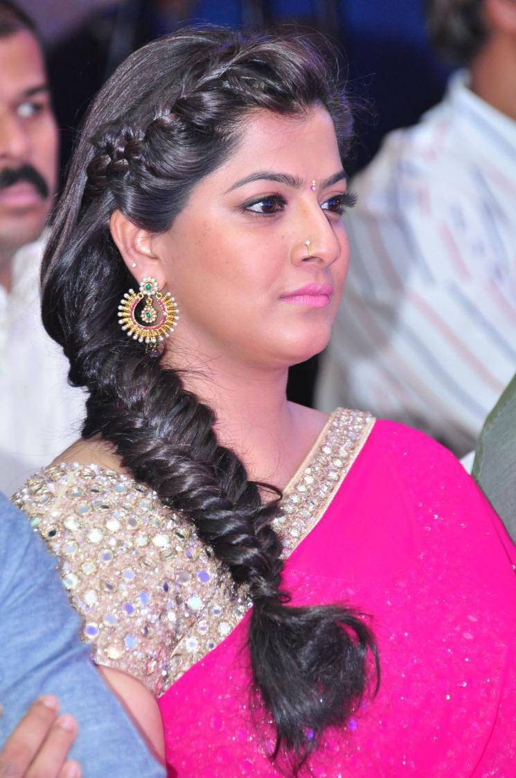 Varalaxmi Sarathkumar Photos In Pink  Saree At Tamil Film Audio Launch