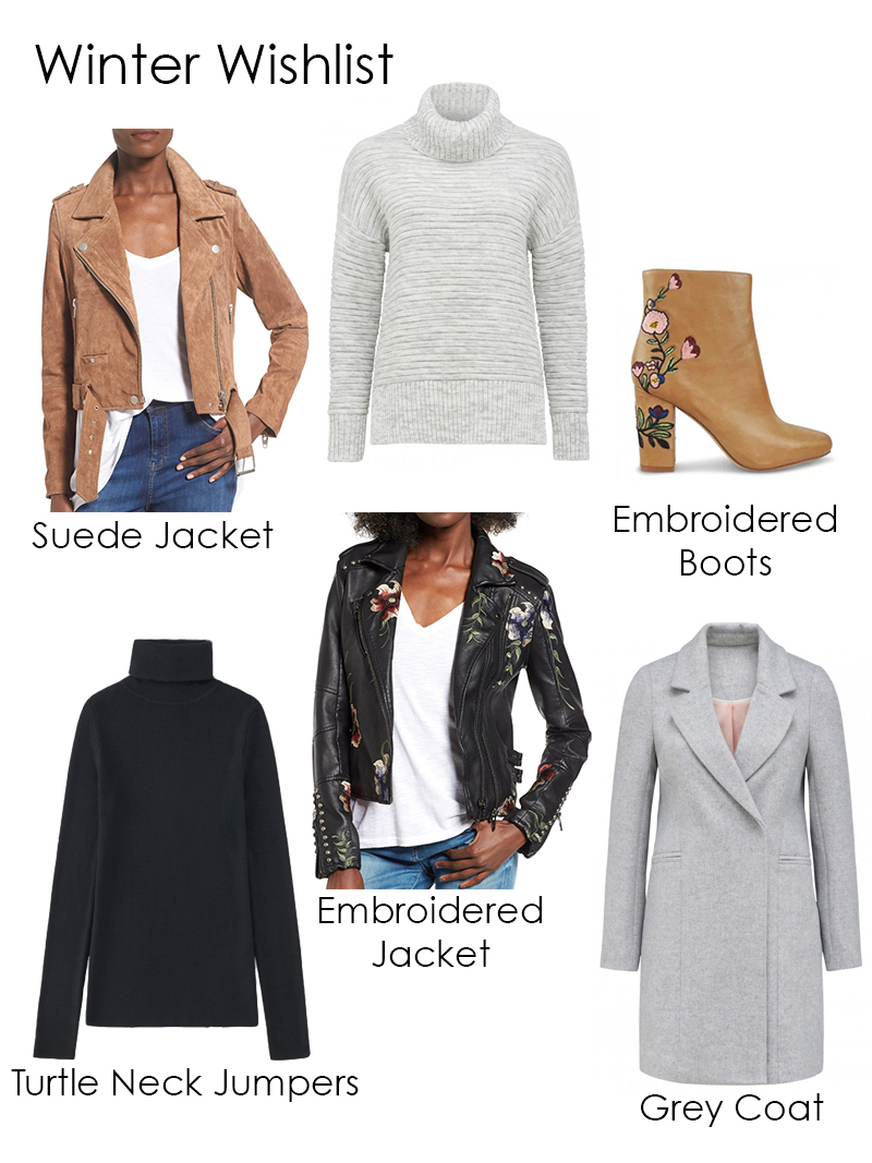 winter fashion wishlist, grey turtle neck, black turtle neck, grey coat, embroidered jacket, suede jacket, embroidered boots