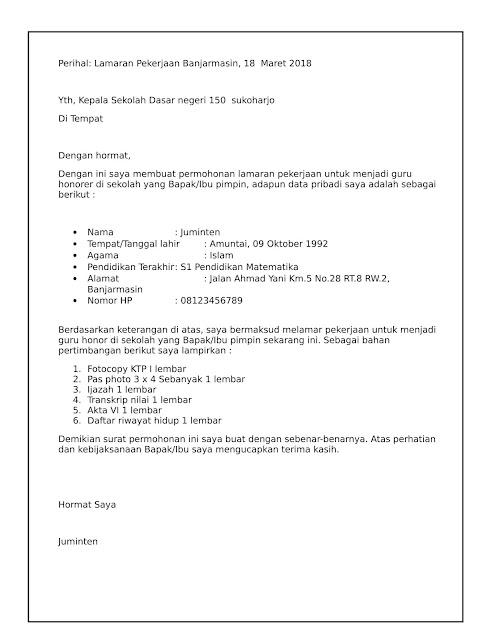 Contoh surat lamaran kerja Guru sekolah dasar negeri