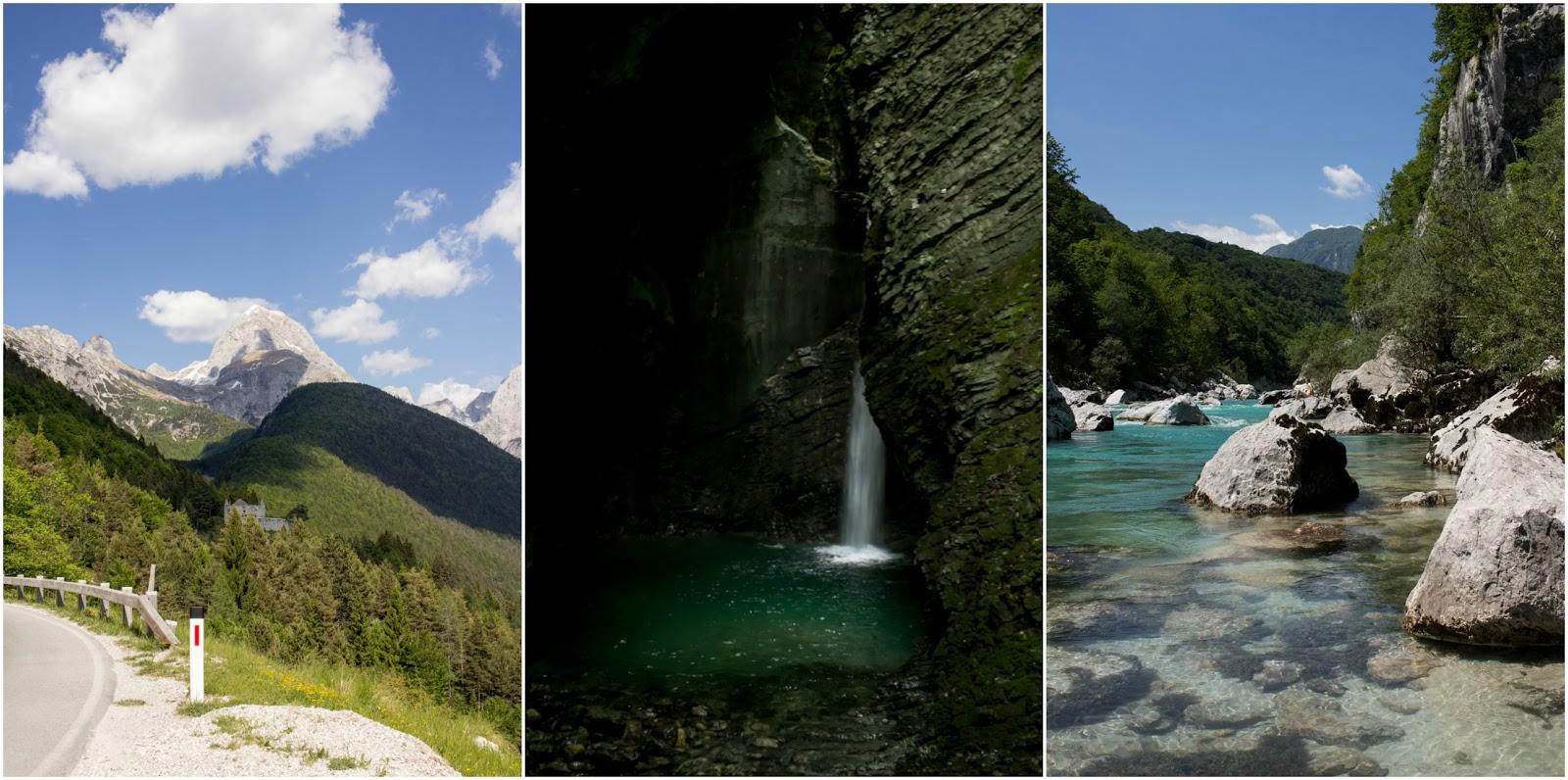 Collage - Blick vom Predilpass auf den Mangart - Slap Kozjak - Soca