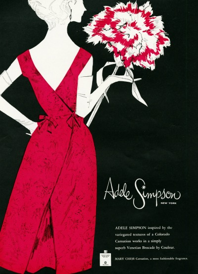 Adele Simpson Illustration of model in red evening gown holding large carnation for Colorado Carnations promotion