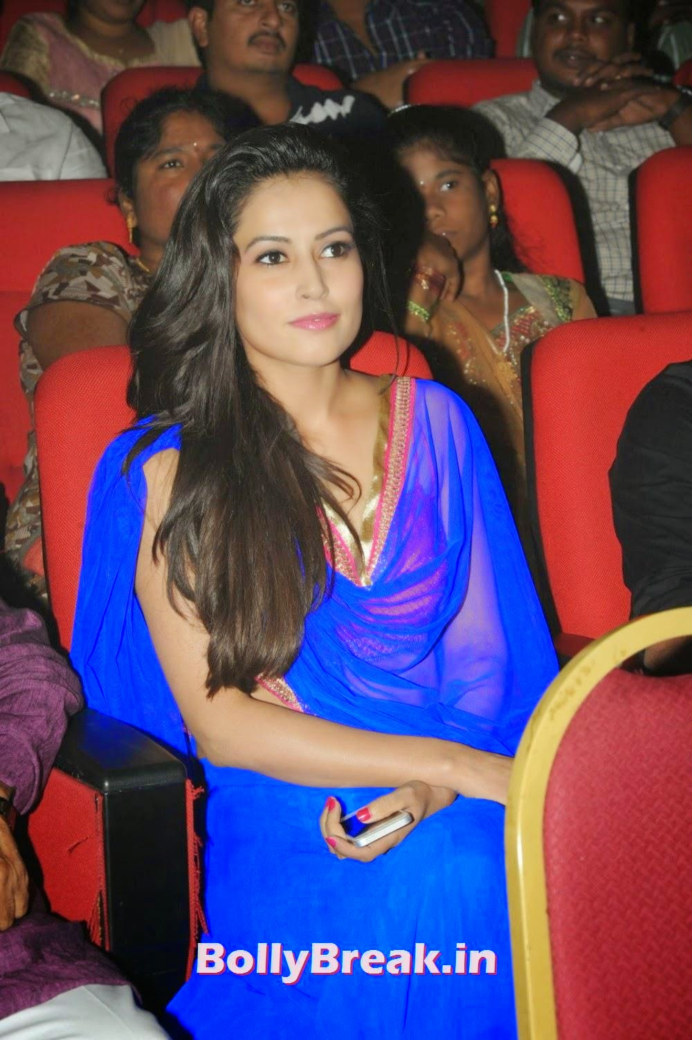 , Disha Pandey Blue Saree Pics, Backless Blouse images