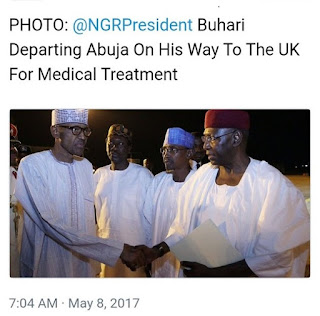 Picture showing President Buhari leaving Nigeria for the UK for medical treatment