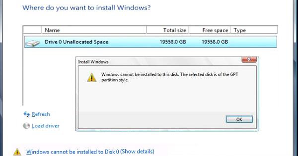 حل مشكلة Windows Cannot Be Installed To This Disk عند تثبيت