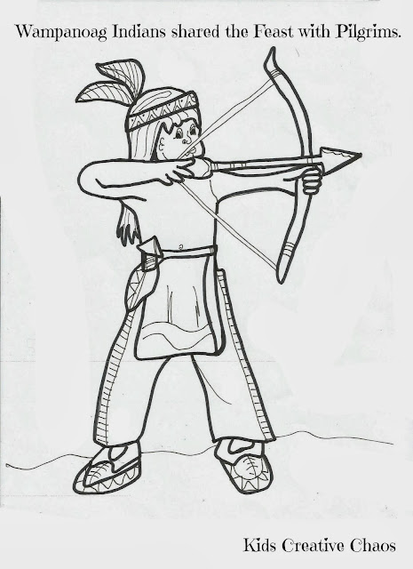 wampanoag native americans shared the feast with pilgrims think this indian boy is after a turkey - Child Coloring Pages
