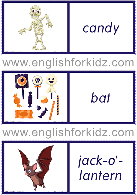 Halloween dominoes for ESL students