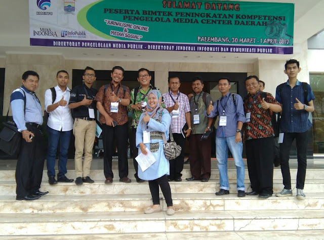Kominfo Kota Pariaman Ikuti Bimtek Media Centre di Palembang