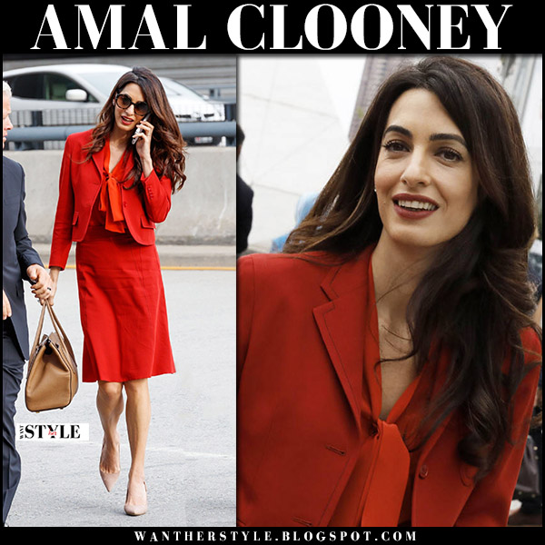 Amal Clooney in red scarlet jacket, red blouse and red skirt bottega veneta at UN Security Council Meeting september 21 2017 fashion