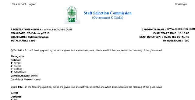 SSC CGL 20-02-2018 Tier 2 English Paper with Answer Key PDF Download