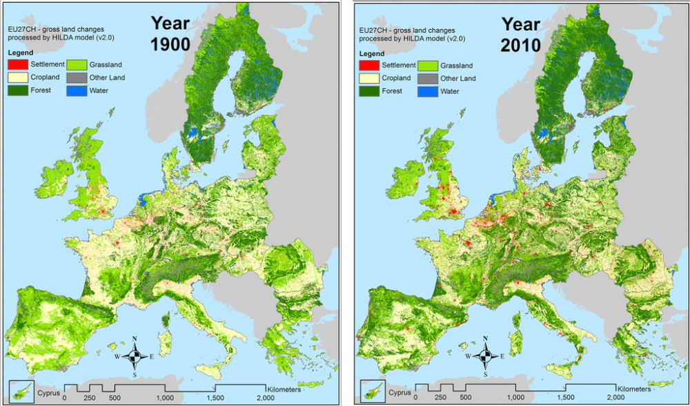 Land use in Europe in 1900 & 2010