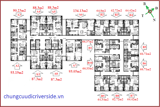 Mặt bằng tầng chung cư Udic Riverside